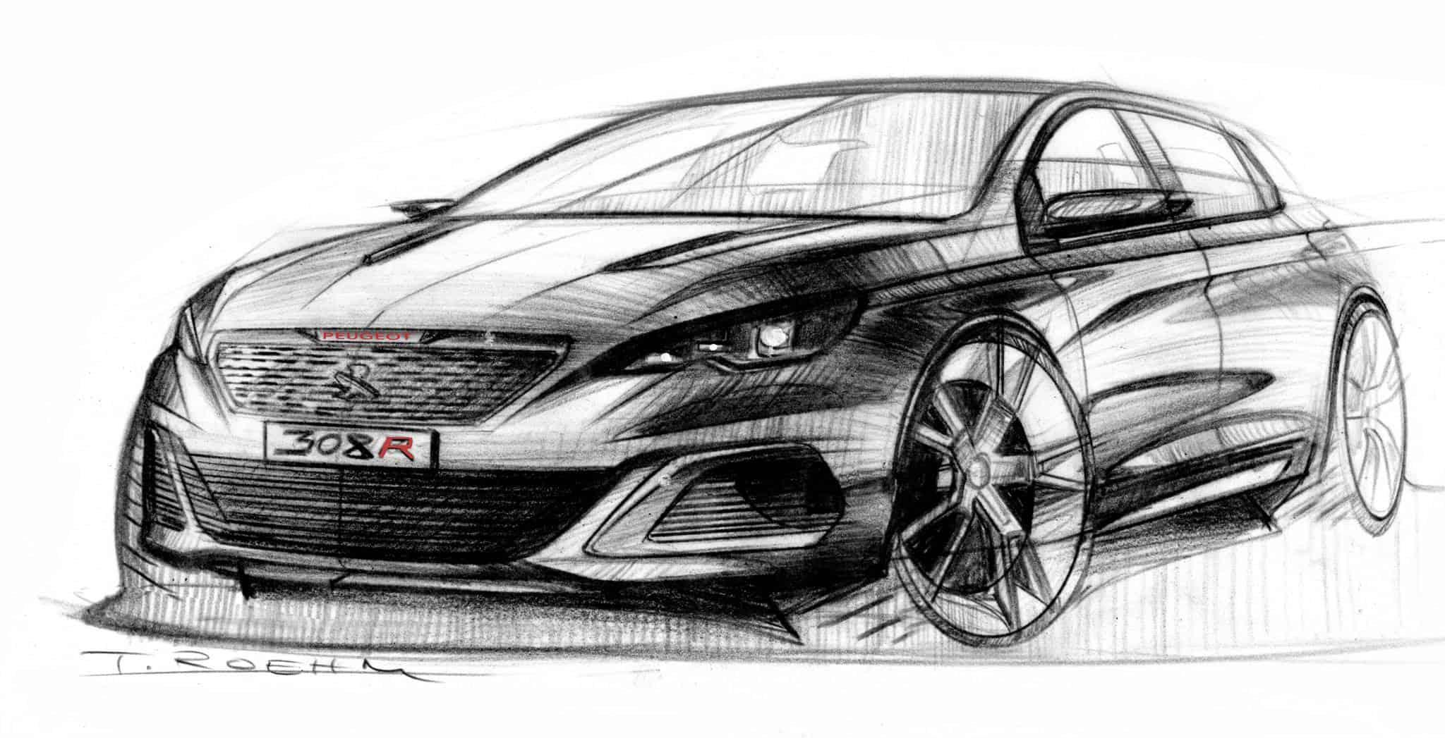 Design-Skizzen Thomas Roehm vom Peugeot 308 R Concept | Auto-Diva ...