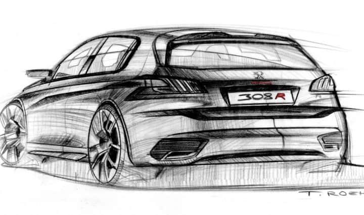 Design-Skizzen Thomas Roehm vom Peugeot 308 R Concept 2