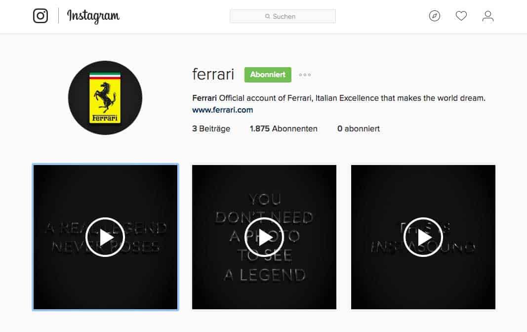 Ferrari auf Instagram