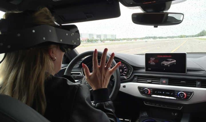 Nicole Y. Jodeleit mit VR-Brille im Audi